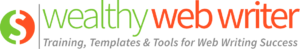 Wealthy Web Writer logo. Client List.